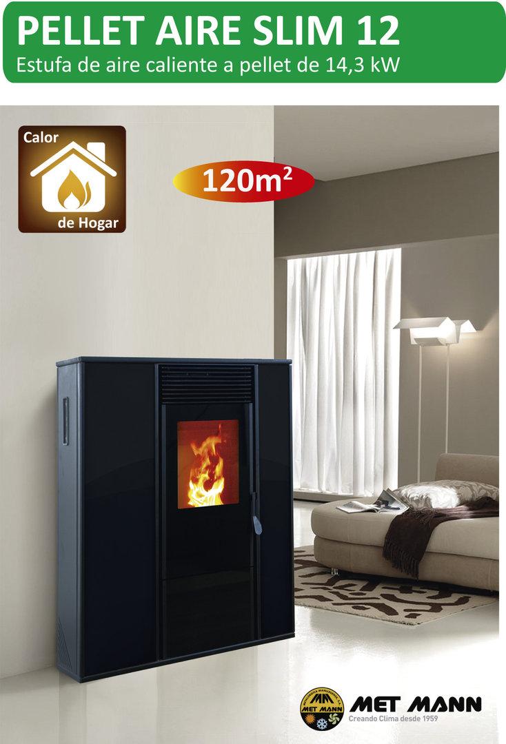 Estufa pellet aire 12 slim 14 3 kw coalce renovables for Fabricantes de estufas de pellets