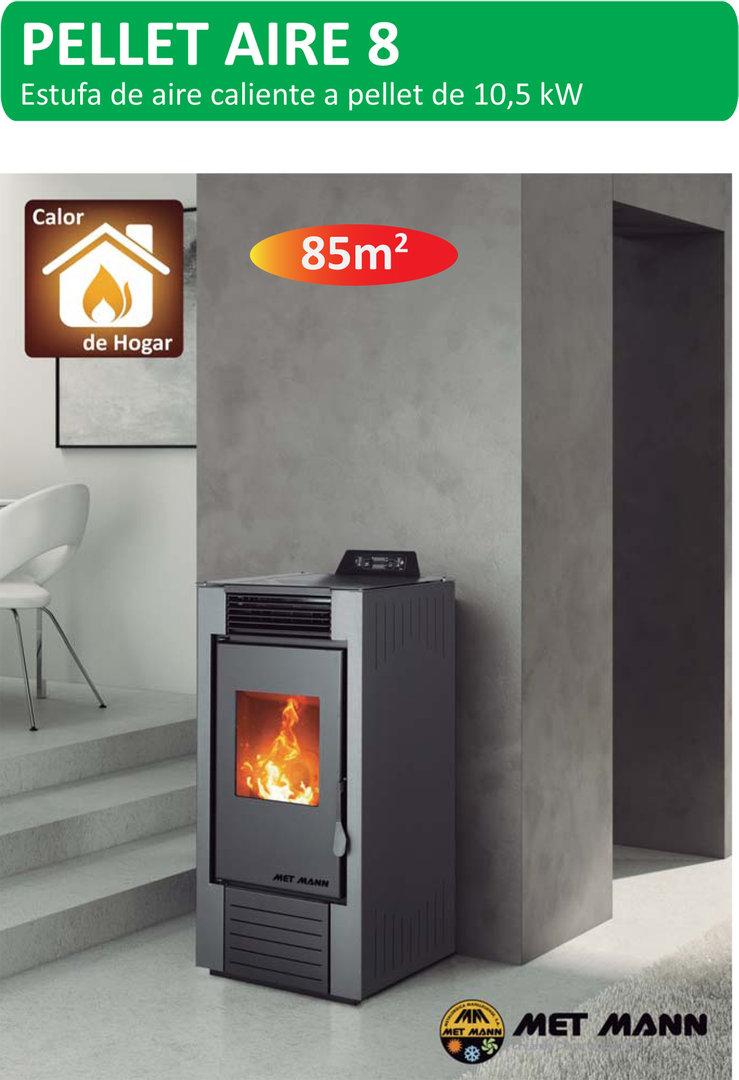 Estufa pellet aire 7 8 2 kw coalce renovables for Fabricantes de estufas de pellets